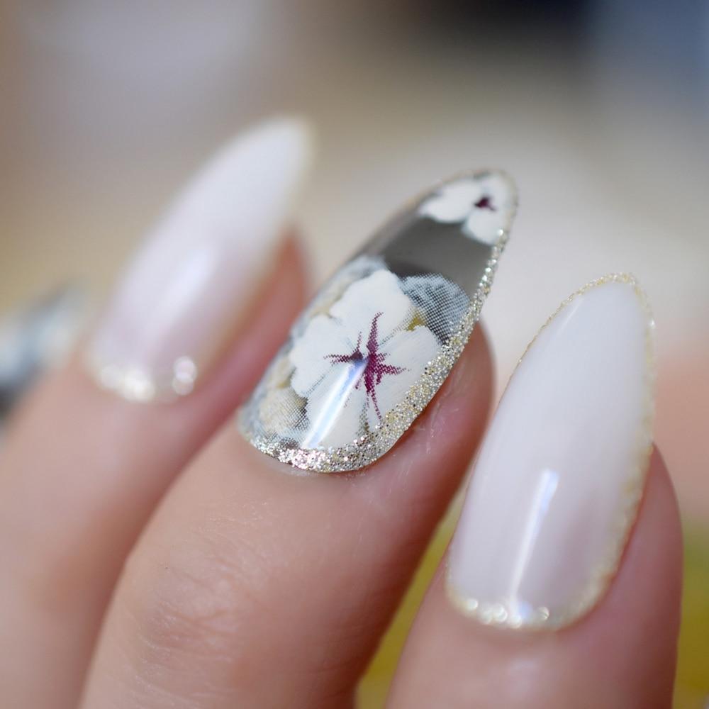 24pcs/kit Almond Shape Acrylic Nails Gold Glitter Decoration Medium ...