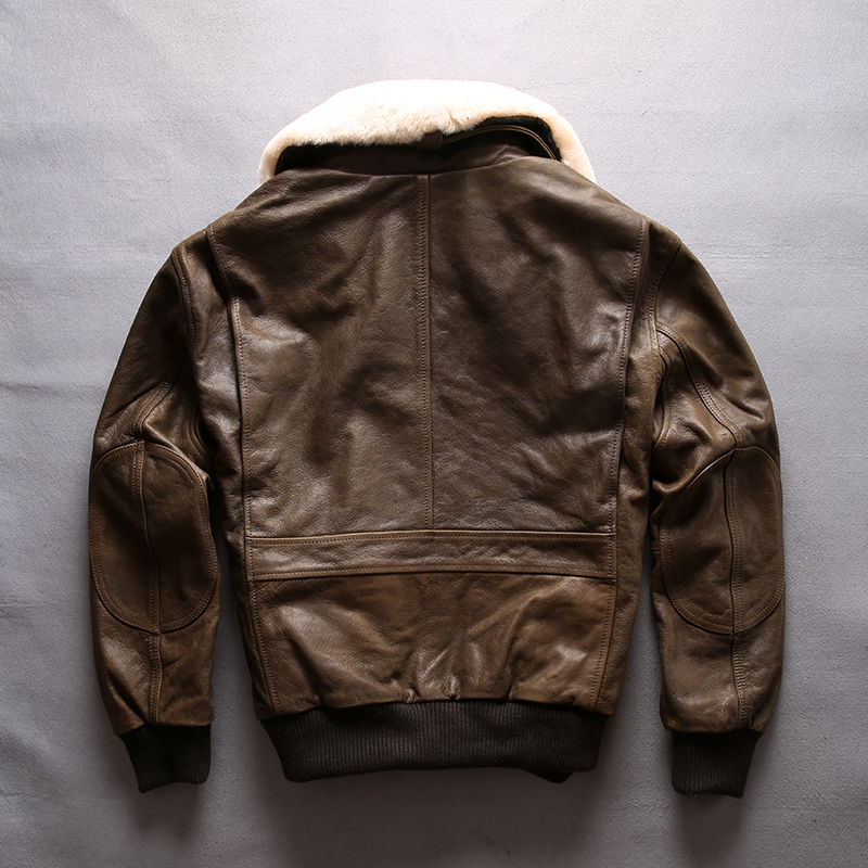 HTB1zjiqFruWBuNjSszgq6z8jVXaD AVIREX FLY 2018 Genuine Leather jacket Men Bomber Jacket Fur Collar Cowskin Short Air Force Flight Jacke Vintage Winter Coat