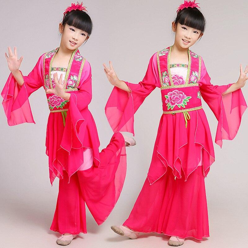 Barn Klassisk Dansdräkt Kläder Kangfu Dance National Dance Apparel Visa Yangko Dance Wear for Child