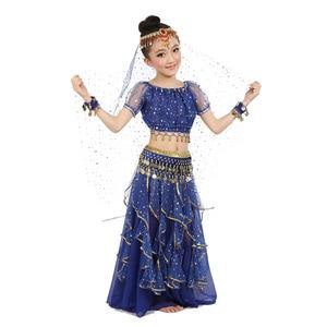 Image 2 - 2020 חדש סגנון ילדים בטן ריקוד תלבושות מזרחי תלבושות ריקוד בטן ריקוד רקדנית בגדי הודי ריקוד תלבושות 5 Pcs עבור ילדים