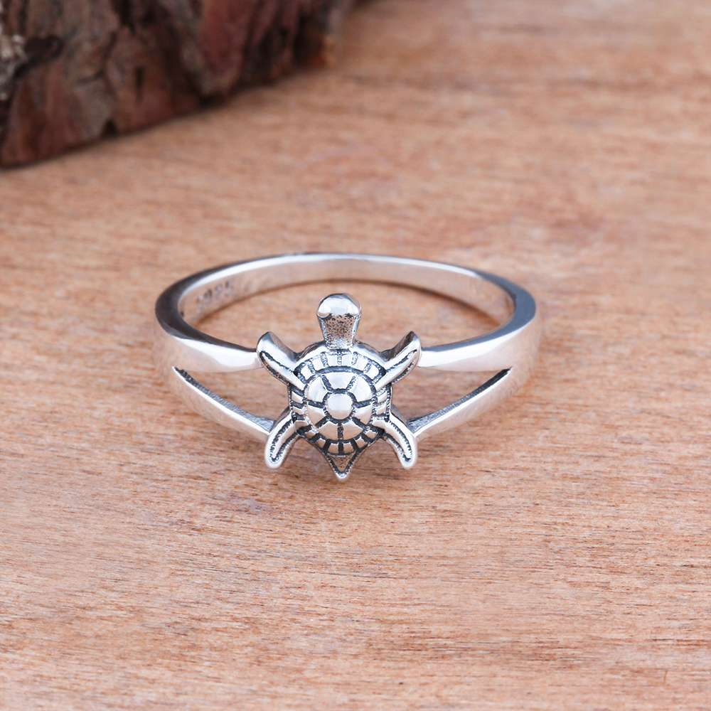 Solid 925 Sterling Silver Female Ring Vintage Tortoise Pattern Rings ...