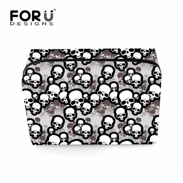 FORUDESIGNS Cool Skull Make Up Bags Women Organizer Cat Baby Necessaire For Ladies Girls Makeup Stationery Casual Wash Pouch