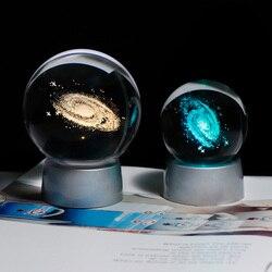 3d laser gravado k9 de cristal galaxy globo base led colorido e mutável luz decoração para casa ornamento para dropshipping