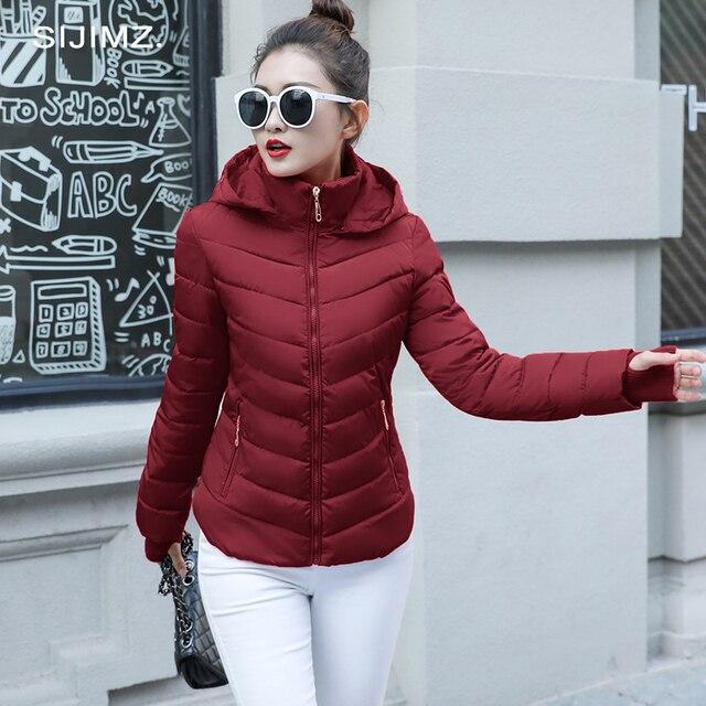 2019 Kış Ceket kadın Artı Boyutu Kadın Parkas Kalınlaşmak Kabanlar katı kapşonlu Palto Kısa Kadın Ince Pamuk yastıklı temel tops