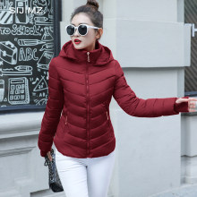 2019 Winter Jas vrouwen Plus Size Womens Parka Thicken Bovenkleding effen hooded Jassen Korte Vrouwelijke Slanke Katoen gewatteerde basic tops(China)