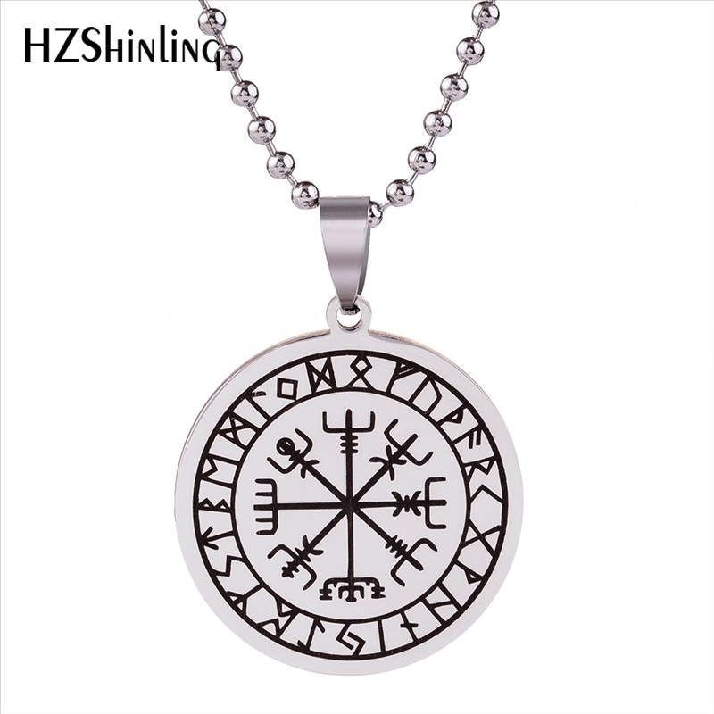 Odin Viking Nordic Thor Pendant Runes Necklace Metal Chain Gift Colour Silver