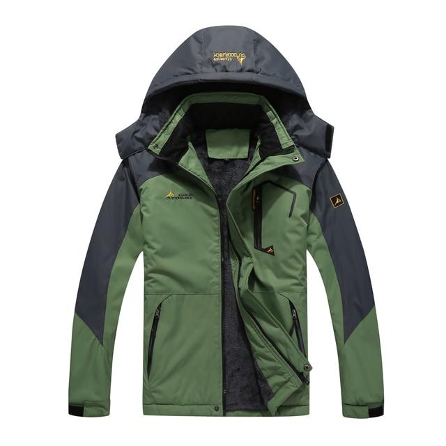 Для мужчин большой Размеры зима внутренний руно Водонепроницаемый Куртка горнолыжная куртка Открытый спорт Пеший туризм походы Кемпинг Лыжная куртка