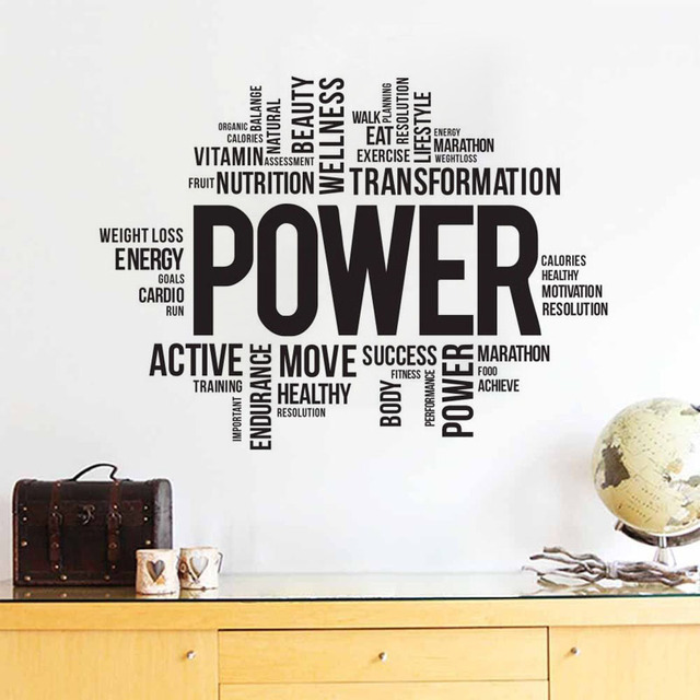 Fitness Wall Stickers Quotes Vinyl Words Sticker Home Decoration DIY ...