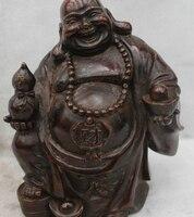6Chinese Buddhism Bronze Wealth Happy Laugh Maitreya Buddha Money Statue