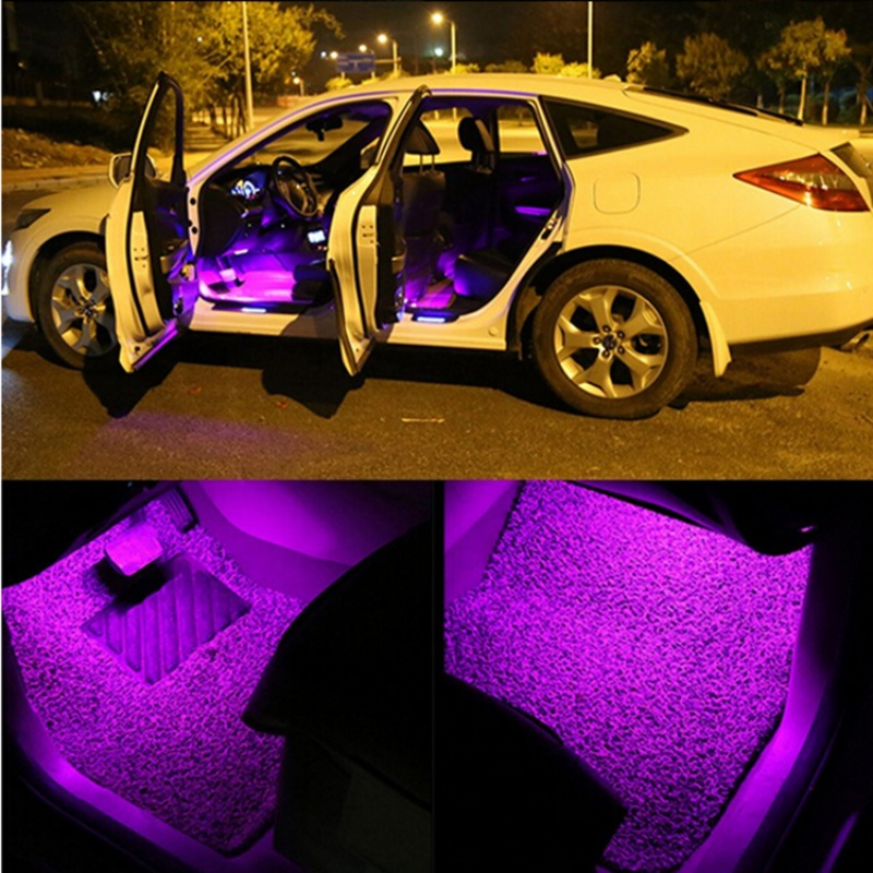 Car rgb led strip light 4pcs led strip lights car styling decorative atmosphere lamps car for Led lighting for cars interior