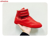 Men's Casual Shoes hot sale men red glazed leather nice shoes flats street fashion hook&loop high top male trainers dress shoes