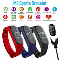 Reloj inteligente M4 Fitness para hombre, pulsera con Monitor de frecuencia cardíaca y presión arterial, reloj inteligente táctil colorido