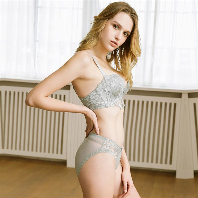 983e0b56b6 Bralette Underwear Women Briefs Lace Embroidery Push Up Bra Set Sexy ...