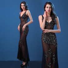 New sexy V, evening dress, slim tail, evening dress, host banquet, dress, auto show, X-ray outfit
