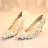 2017 Sang Trọng Màu Trắng Pha Lê cao gót giày váy chính thức woman nhọn toe heel low đính cườm phụ nữ bơm wedding partry prom giày w