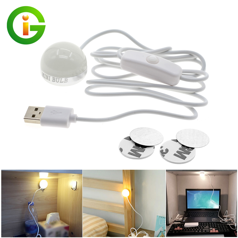 USB Powered LED Night light 3W Desk Book Reading Ceiling lamp For Camping Emergency Bulb With Switch ON / OFF diy handwriting ornaments light box table a4 led luminous battery usb powered desk night light box plaques sign for wedding part