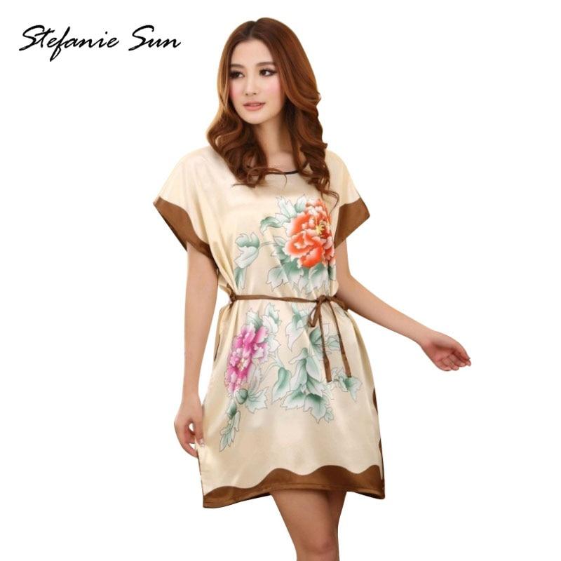 ROPALIA Ladies Sleepwear Dress Round Neck Printed Women Nightgowns Clothes Summer Autumn Latest Y6