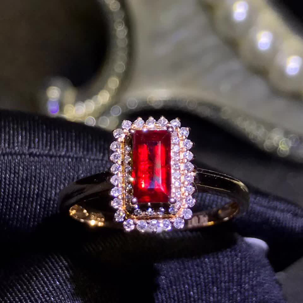 gemstone jewelry factory wholesale classic 18k yellow gold South Africa real diamond natural ruby ring for women wedding gift 1