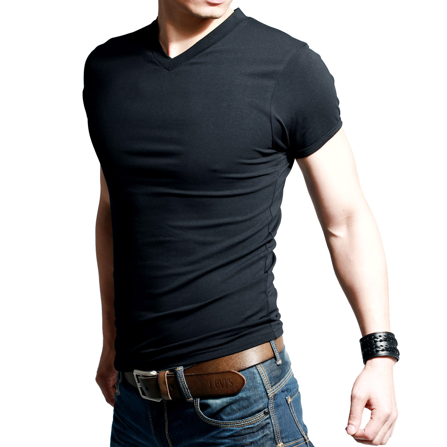 shirt t-shirt Picture - More Detailed Picture about Men's V neck ...