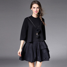 2016 Fashion Autumn Winter Women Skirt Set Doll Thin Sweater + Pleated Mini Skirt Suit Halloween Costume for Women Black Skirt