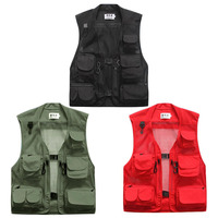 Summer Men Light Weight Outdoor Drying Vest Fishing Climbing Vest Multi Pockets Loose Style Breathable Clothes