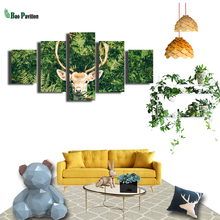 Sika Deer In The Woods Canvas Wall Art Print Home Decor For Living Room Modern Decorative Pictures 5 Pieces Panel Large Poster