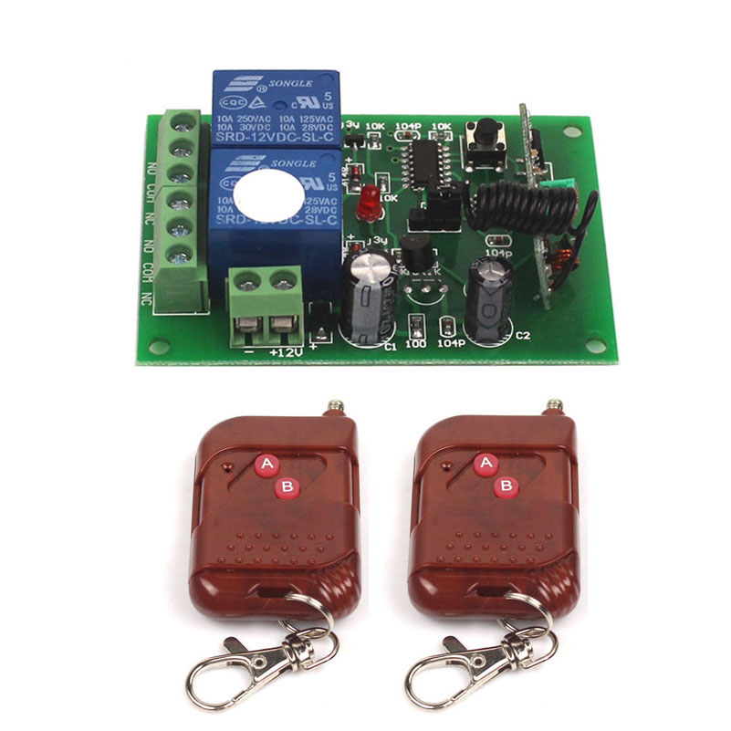 12V 2CH 433Mhz Remote Control Universal Switch Remote Control Switch 12V Transmitter Receiver Module 433315MHz-2