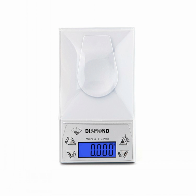 0.001g Mini LCD Digital Diamond Jewelry Scale High Precision Food Diet Gem Scales Weighing Balance Silver CT/DWT/G/GN Backlight