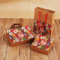 100pcs/lot Retro Blossom Flower Style Cake Box Cookies Mooncake Biscuit Candy Box Wedding Party Gift Boxes Free Shipping