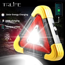 Multifunction COB Rechargeable Triangle Emergency Portable Spotlight LED Worklight Solar Power Car Repair Camping Lamp