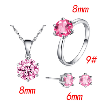 Fashion Silver Color Cubic Zircon Jewelry Sets Hot Promotions Jewelry Jewelry Sets Women Jewelry Metal Color: pink Ring Size: 9