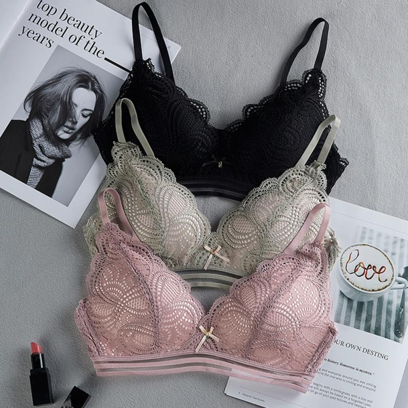 3 Colors No Steel Ring Sexy Lace Floral   Bra     Set   Women   Briefs   Underwear Triangle Cup Ladies Lingerie   Set