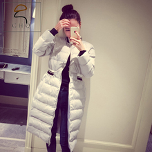 2016 new winter Korean Slim Down padded cotton baseball big yards thick coat jacket and long sections female
