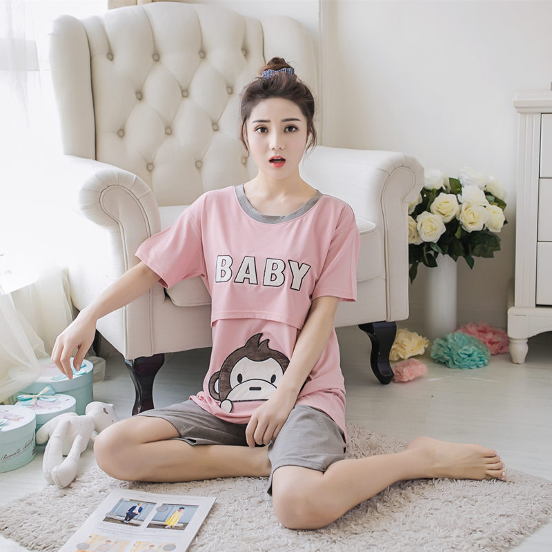 c2e32daee7077 Maternity Nursing Pajamas Letter Print Summer Pregnant Clothes T Shirt + Shorts  Short Sleeve Breastfeeding Pajamas Sleepwear Set-in Sleep & Lounge from ...