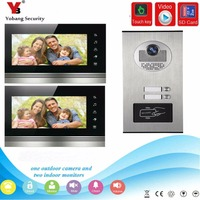 YobangSecurity 7 inch Wired Video Door Phone Doorbell Chimes System RFID Keyfob With SD Card Recording function for 2 Apartment