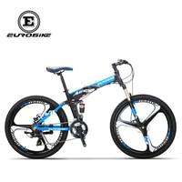 EUROBIKE Folding Bike 26 Inches Aluminum Frame 21 Speed Gears Dual Suspension Mountain Bike