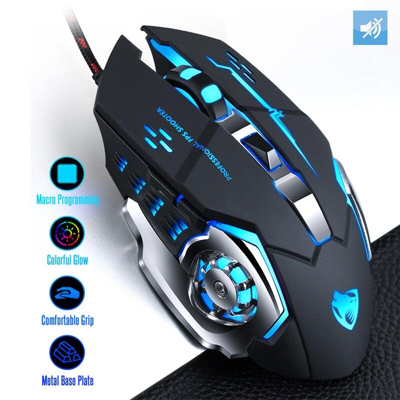 Profissão wired gaming mouse 7 botões 4000 dpi led óptico usb computador mouse gamer mouse mouse jogo silencioso mouse para computador portátil