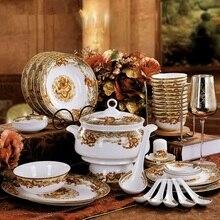 Jingdezhen ceramic tableware 56pieces bone china set hotel business gifts custom made bowl