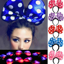 Luminous Led Flash Round Head Hoop Hairband Hairpin Head Buckle Minnie Hair Accessories Party Birthday Concert Toys Wholesale