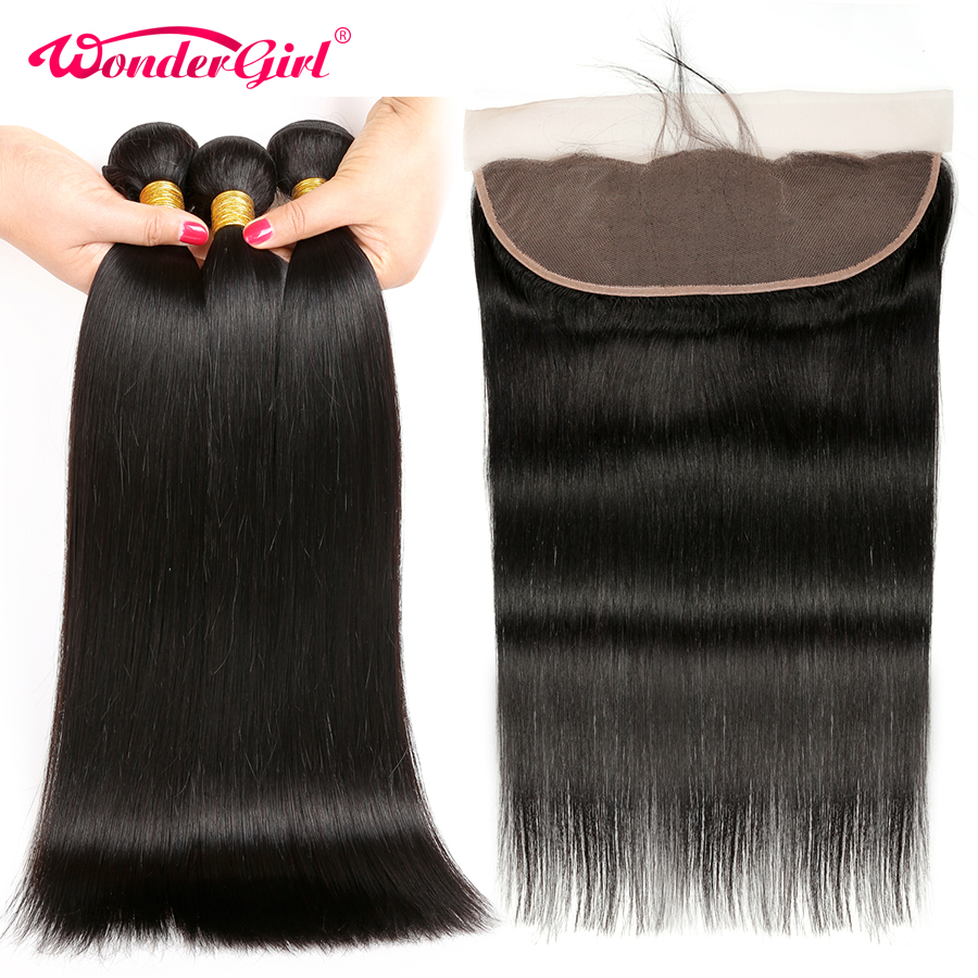Peruvian Straight Hair 3 Bundles With Frontal 13x4 Lace Frontal Closure With Bundles Remy Human Hair Bundles Wonder girl