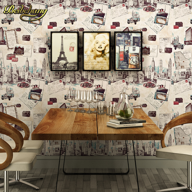 ФОТО beibehang wall paper British retro wallpaper shop for living room wallpaper Illustrated building den restaurant backdrop