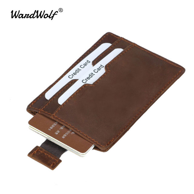 893f8f3233e42 WardWolf Men Card ID Holder Cow Leather Vintage Wallets Crazy Horse RFID  Blocking Pickup Package Bus Card Holder Case