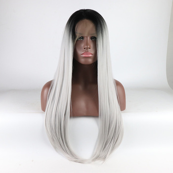 Fantasy Beauty Glueless Lace Front Wig Ombre Silver Grey Wig Long Straight Halloween Synthetic Wigs for Women Heat Resistant Wig
