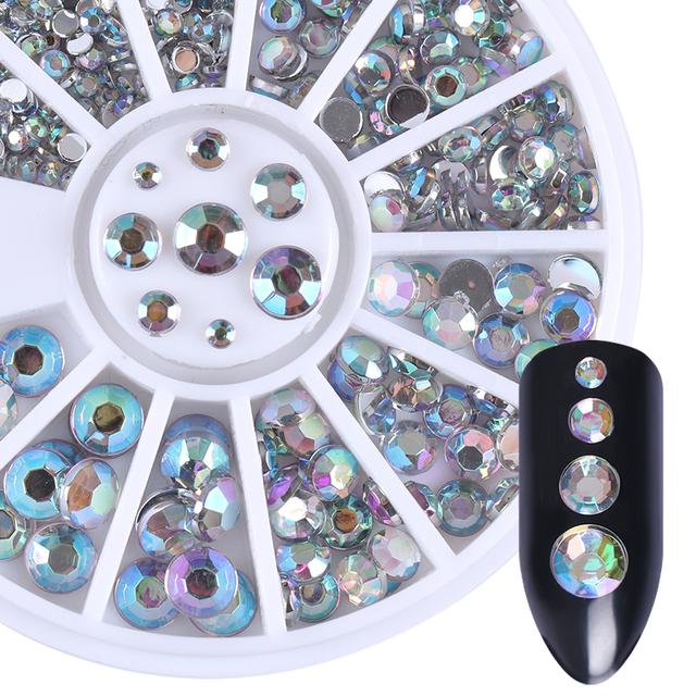 1.2mm/2mm/3mm/4mm Mixed Silver Round Nail Rhinestones for Acrylic UV Gel Shinning