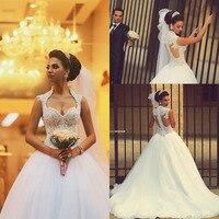 Vestido De Noiva 2018 Gorgeous Princess Long Beaded Lace Saudi Arabic Ball Gown Weddings Mother Bride Dress Vestido Casamento