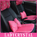 Ladycrystal Cute Diamond Crystal Car Seat Covers Soft Breathable Fiber Warm Auto Seat Cushions For Girls Women Ladies