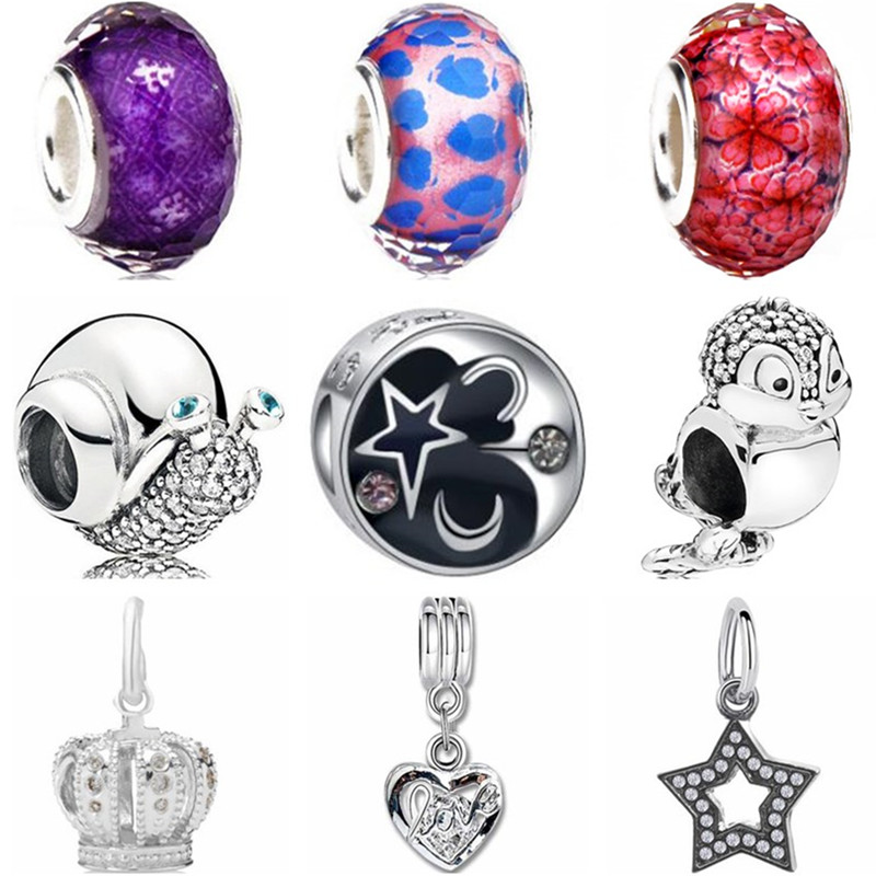 Heart-Beads Bracelets Jewelry Charms Crown Elephant Women Original Pandora Making High-Quality