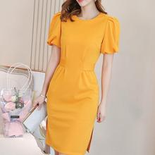2019 New Yfashion Women Fashion Elegant Charming Short Sleeve Solid Color Casual Dress vestidos Top Quality