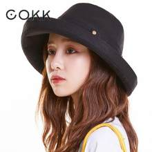 f01165c7bc7a19 COKK 2019 New Summer Bucket Hat Women Wide Brim With Button Flat Top Casual  Fishing Hat Mens Panama Bucket Hats Cotton Sunhat