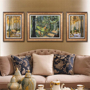 YongHe Nordic style Elk Abstract Decorative Oil Painting Three-Picture Combination Spray Painting wall deco Frameless